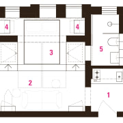 Architect Prineas studio renovation – after: 1 kitchen/entry, area, design, floor plan, line, pattern, plan, product design, schematic, square, text, white