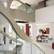 Templates for these organic glass balustrade 'windows' were architecture, ceiling, daylighting, house, interior design, product design, stairs, table, gray