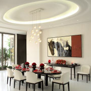 The dining setting is enhanced by a ceiling ceiling, dining room, furniture, interior design, light fixture, living room, room, table, gray