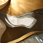 A view up through this home's central staircase automotive design, design, product design, brown
