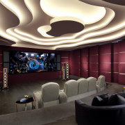 In tune with its surroundings – this basement ceiling, function hall, interior design, lighting, lobby, room, wall, red, black