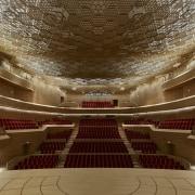 The Auditorium, part of Le Seine Musical, designed architecture, auditorium, ceiling, concert hall, interior design, opera house, performing arts center, theatre, brown, red