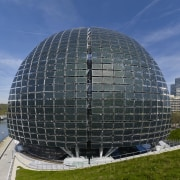 The glass and timber ovoid shape of the architecture, biome, building, corporate headquarters, dome, sky, structure, black