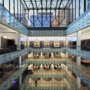 The central atrium and skylight in the new architecture, building, daylighting, structure, black, gray