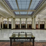 Fully restored by TKD Architects, the historic Banking ceiling, daylighting, estate, interior design, lobby, table, tourist attraction, window, gray