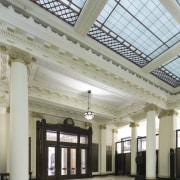 The restored Banking Chamber in the heritage component ceiling, column, daylighting, interior design, lobby, structure, tourist attraction, gray