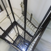 Stairwell in the new office tower at 5 architecture, building, ceiling, daylighting, glass, line, structure, gray