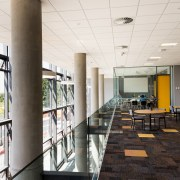 The curtain wall fronting the east side of architecture, ceiling, daylighting, interior design, lobby, structure, white, black