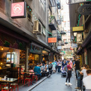 Melbourne's laneways pioneered the mix of small scale alley, city, downtown, market, marketplace, metropolitan area, neighbourhood, shopping, street, town, black