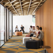The lively campus decor at 1 Parramatta Place architecture, ceiling, daylighting, floor, flooring, furniture, institution, interior design, lobby, brown