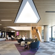 The advanced Western Sydney University vertical campus is architecture, ceiling, daylighting, house, interior design, gray