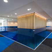 Fenced in low walls of blue perspex, the architecture, ceiling, daylighting, floor, flooring, glass, house, interior design, real estate, gray, blue