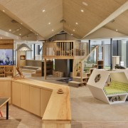 Architect Gordon Moller's design for Cosmokids child centre architecture, ceiling, interior design, living room, lobby, real estate, orange, brown