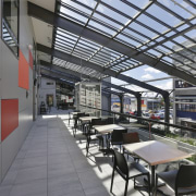 The canopy roof at the side of  daylighting, real estate, gray
