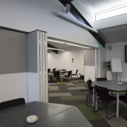 Clerestory windows and skylights ensure lecture spaces are architecture, ceiling, house, interior design, real estate, gray, black