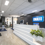 EMA's reception is located on the ground floor interior design, lobby, office, gray