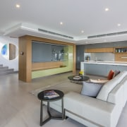 This pool kitchen started life as a bar floor, interior design, living room, real estate, gray