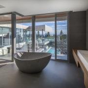 Soaking in the views – this master bathroom's architecture, estate, house, interior design, real estate, window, gray, black