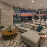 Travertine feature walls and lots and lots of interior design, living room, real estate, brown