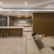 The main kitchen in a two-kitchen home designed architecture, ceiling, floor, flooring, interior design, lobby, brown, gray