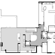 First floor level in this architectural residence by area, black and white, design, diagram, drawing, floor plan, font, line, plan, product design, technical drawing, white