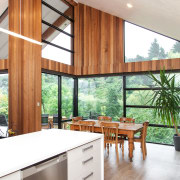 Referring to this pared-back residence, house designer Cameron architecture, ceiling, countertop, house, interior design, kitchen, real estate, window, wood, white