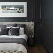 This moody master bedroom makeover by Katie Scott bed frame, bedroom, ceiling, floor, home, interior design, room, wall, black, gray
