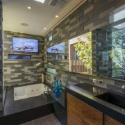 Light spills into this new master ensuite through interior design, real estate, black, gray