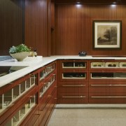 This extensive closet space features custom-designed storage on cabinetry, countertop, flooring, furniture, interior design, kitchen, wood, brown