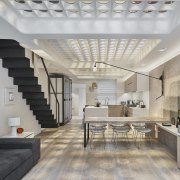 This renovation by Andy Martin Architecture has transformed ceiling, daylighting, floor, interior design, living room, loft, real estate, gray