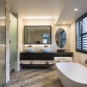 Warm tones, natural materials and homely touches like bathroom, estate, interior design, room, gray