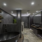 Walls were moved and immovable services concealed for architecture, ceiling, house, interior design, black, gray