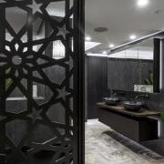 Providing a degree of privacy while also keeping architecture, interior design, black, gray