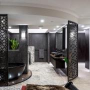 This master suite renovation by designer Kim Duffin ceiling, floor, interior design, living room, lobby, room, gray, black