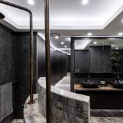 An exotic tapestry of porcelain tiles, Platinum Travertine bathroom, ceiling, countertop, interior design, black, gray