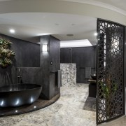 Stone, porcelain, bronze and natural wood combine to ceiling, interior design, lobby, room, gray, black