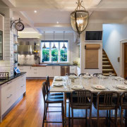 Movable feast. Set on castors, this steel and countertop, dining room, interior design, kitchen, real estate, room, gray