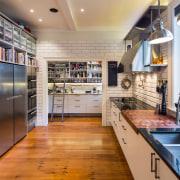Glass, steel, subway tiles and classic lighting combine countertop, interior design, kitchen, gray