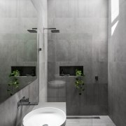Part of a renovation and extension project by architecture, bathroom, floor, interior design, plumbing fixture, product design, room, tap, tile, wall, gray, white