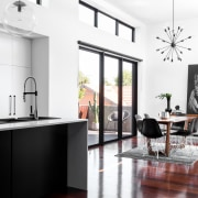 Gleaming white surfaces are complemented by rich jarrah countertop, floor, furniture, interior design, interior designer, kitchen, product design, white