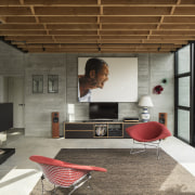 Board-faced concrete panels have been left exposed, providing architecture, house, interior design, living room, black