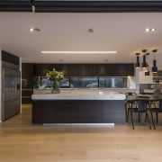 Windows become kitchen splashback in this entertainer's and architecture, countertop, floor, house, interior design, kitchen, table, gray, black