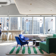 Warm welcome – soft tones, a warm-wood drop architecture, daylighting, furniture, interior design, lobby, office, gray, white