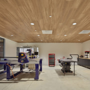 The Supplyframe DesignLab workshop has been acoustically engineered ceiling, daylighting, interior design, lobby, real estate, wood, brown, gray