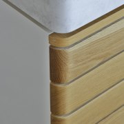 American Oak timber slats wrap around the corners angle, furniture, plywood, product design, wall, wood, wood stain, gray