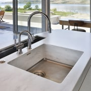 As well as the main sink for preparation countertop, plumbing fixture, sink, tap, gray, white
