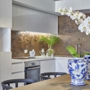 Architects Cameron Chisholm Nicol designed crisp white interiors furniture, home, interior design, kitchen, living room, room, table, wall, gray