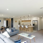 In this Orewa showhome by Fowler Homes, the living room, property, real estate, room, gray, white