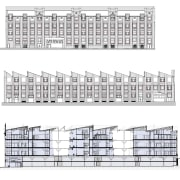 Elevations of the Heirloom apartments show the Wool architecture, area, design, drawing, home fencing, line, pattern, product design, scaffolding, structure, white