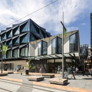 Laneways at The Crossing provide peaks through to architecture, building, commercial building, mixed use, white, black